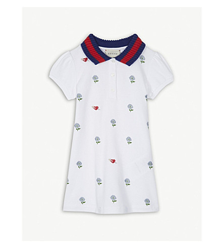 GUCCI Floral heart cotton polo dress 6-18 months (White