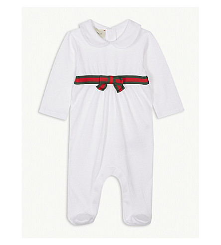 GUCCI Long-sleeved Web stripe ribbon cotton baby-grow 0-12 months (White