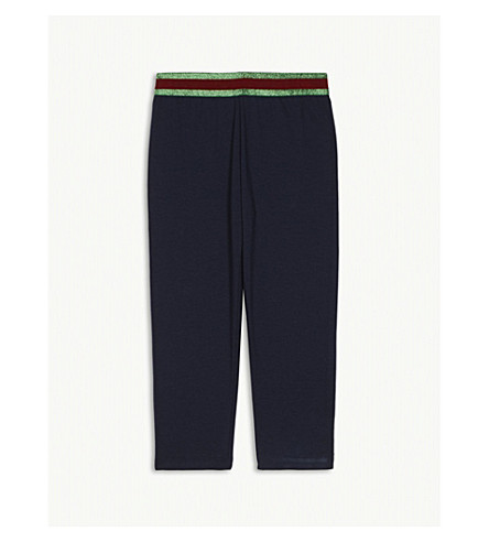 GUCCI Metallic Web striped cotton leggings 3-36 months (Navy