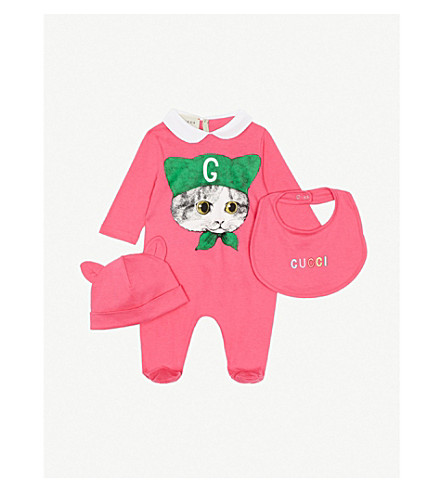 GUCCI Cat-print cotton babygrow set 0-9 months (Pink