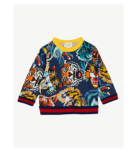 GUCCI Angry Cat cotton-jersey sweatshirt 6-36 months (Navy+multi