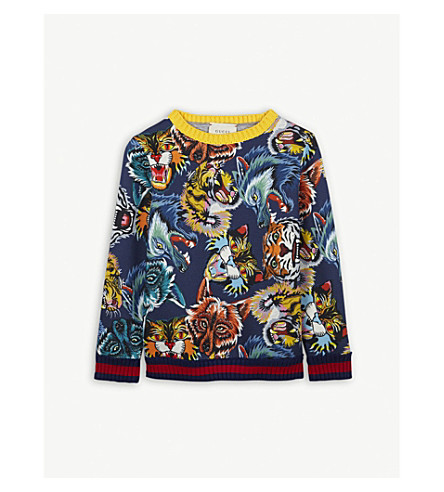 GUCCI Animal face-print cotton sweatshirt 4- 12 years (Navy+multi