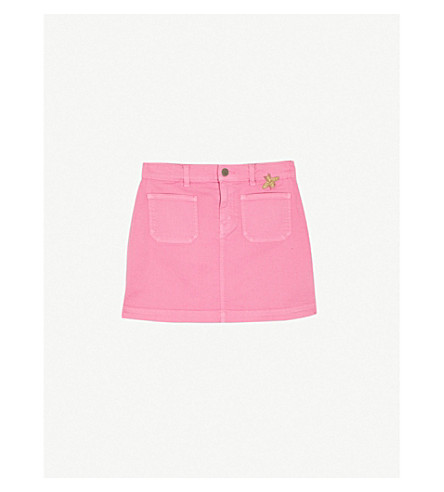 GUCCI Bee-embroidered denim skirt 4-12 years (Pink