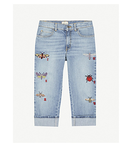 GUCCI Butterfly-appliqué loose-fit jeans 4-12 years (Midwash
