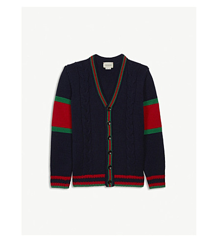 GUCCI 针织羊毛开襟衫 4-12 岁 (蓝色 + 日本/绿色/红色