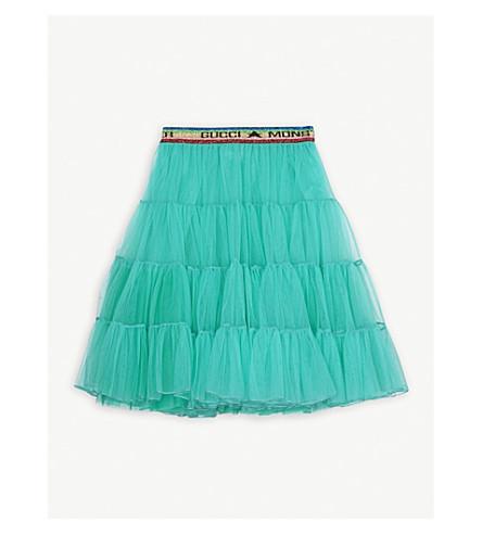 GUCCI Logo waistband tulle skirt 4-12 years (Smeraldo