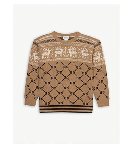 GUCCI Reindeer Fair Isle wool jumper 8-12 years (Camel