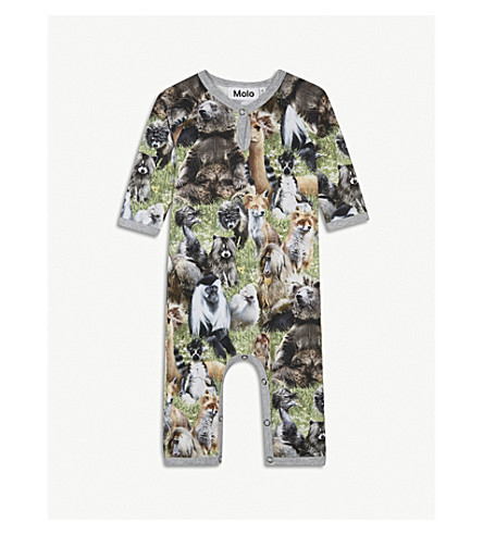 MOLO Fleming jungle-print baby grow 3-18 months (Green
