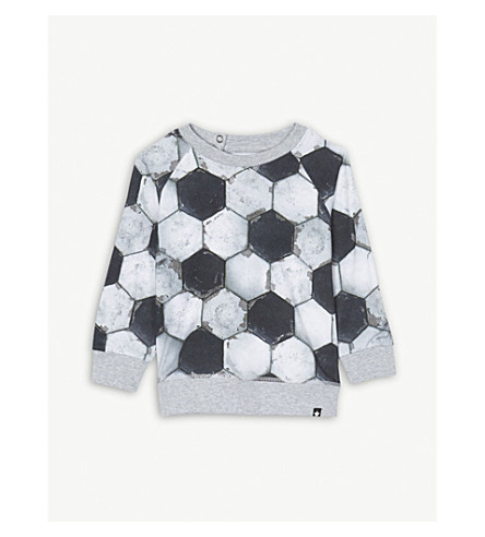 MOLO Football print cotton-blend long-sleeved top 3-24 months (Football print