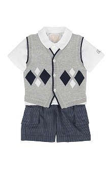 EMILE ET ROSE Polo shirt, waistcoat and shorts set 3-24 months