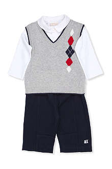 EMILE ET ROSE Brett knit vest, shirt and trouser three-piece set 3-24 months
