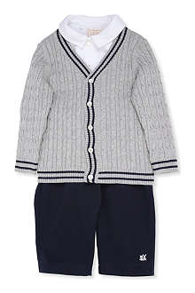 EMILE ET ROSE Brent cardigan, shirt and trouser three-piece set 3-24 months
