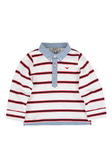ARMANI JUNIOR Long-sleeved striped polo shirt 6-24 months