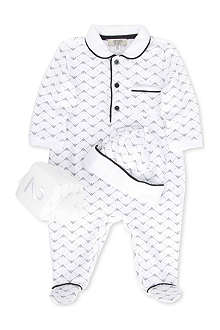 ARMANI JUNIOR Three-piece baby-grow, hat and dice set 1-9 months