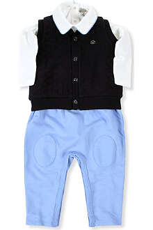 ARMANI JUNIOR Three-piece dunagree set 1-12 months