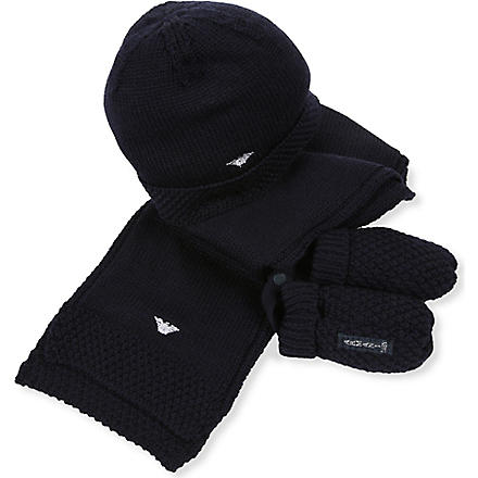 ARMANI JUNIOR Three-piece hat, mittens and scarf set S-M (Navy
