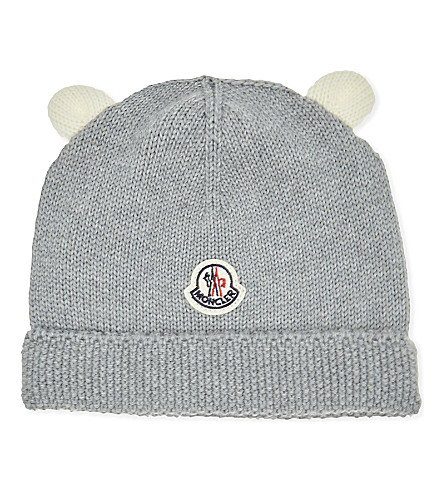 MONCLER Knitted virgin wool hat (Grey