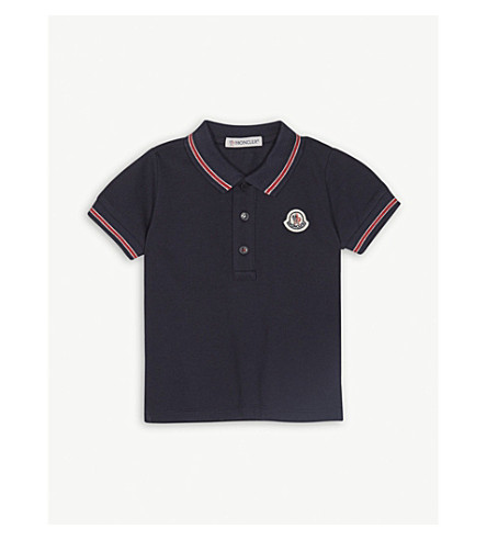 MONCLER Logo cotton-blend polo shirt 3-36 months (Navy