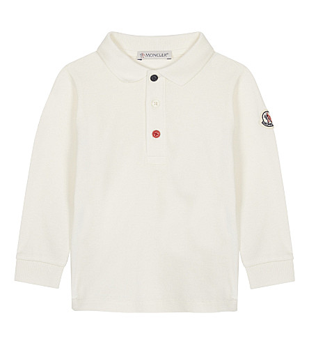 MONCLER Maglia embroidered cotton-blend polo 3-36 months (White
