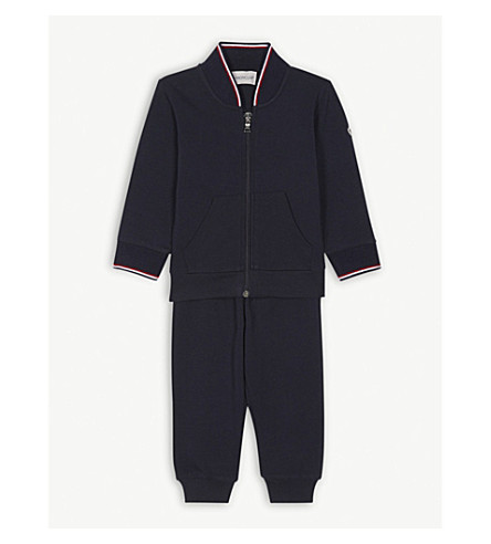 MONCLER Striped cotton tracksuit set 3-36 months (Navy