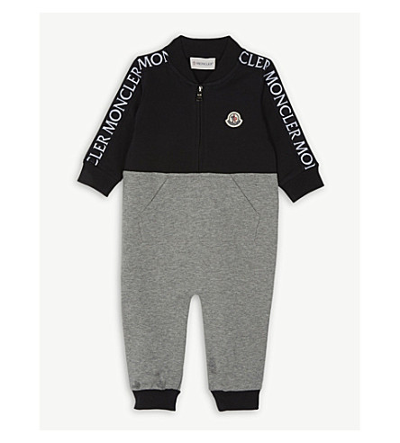 MONCLER Logo cotton-blend all-in-one 1-18 months (Grey