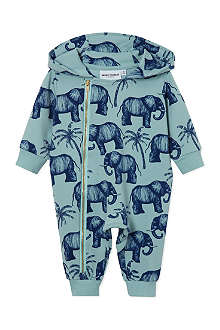 MINI RODINI Elephant hooded babygrow 3-12 months