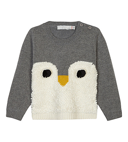STELLA MCCARTNEY Ira knitted penguin pom pom cotton-wool blend jumper 3-36 months (Medium+thunder