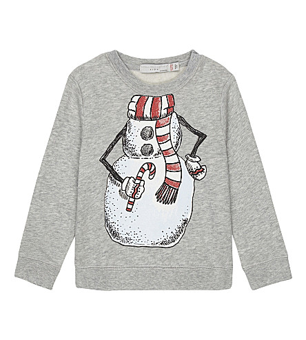 STELLA MCCARTNEY Snowman print cotton jumper 3-36 months (Thunder