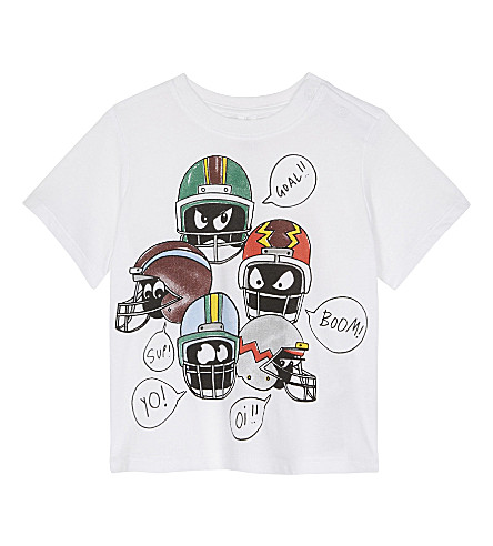 STELLA MCCARTNEY Chuckle helmet print organic cotton T-shirt 6-36 months (White