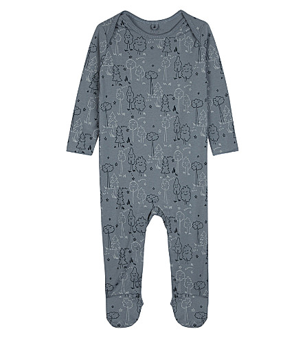STELLA MCCARTNEY Printed cotton babygrow 3-18 months (Sleeping+tree+blue