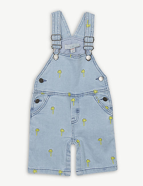 6e469d1bb027 STELLA MCCARTNEY Palm tree embroidered denim overalls 3-18 months