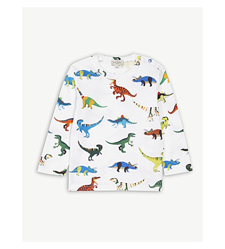 PAUL SMITH JUNIOR Dinosaur print long-sleeve cotton T-shirt 6-36 months (White