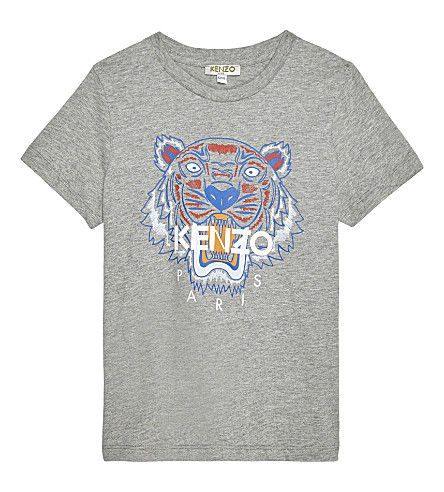 KENZO Tiger cotton-jersey T-shirt 2-3 years (Marled grey