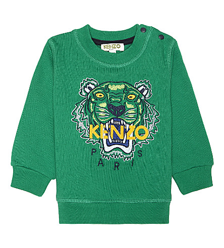 KENZO Tiger icon cotton-blend sweatshirt 6-18 months (Light+green