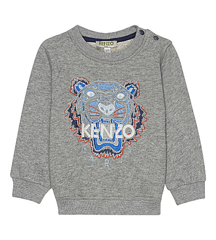 KENZO Tiger icon cotton sweatshirt 6-18 months (Marled+grey