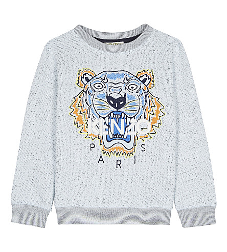 KENZO Tiger cotton-blend jumper 2-3 years (Marled+blue
