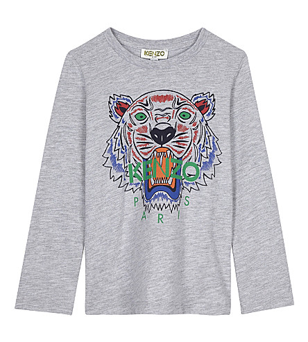 KENZO Tiger cotton-blend T-shirt 2-3 years (Grey