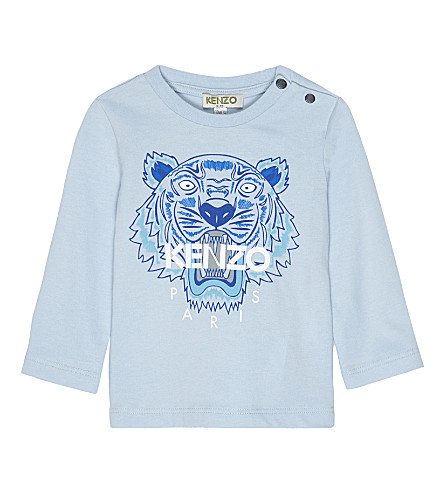 KENZO Tiger print long-sleeved top 3-36 months (Pale+blue