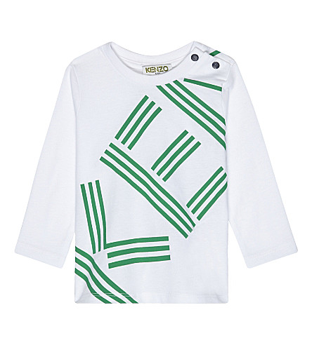 KENZO Logo print long-sleeved top 3-36 months (White
