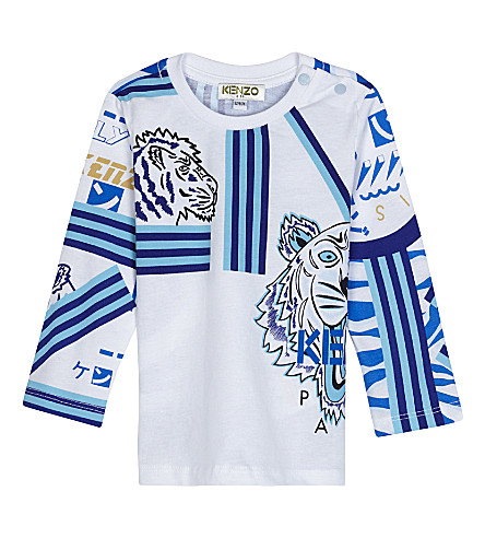 KENZO Corentin cotton long-sleeved top 3-36 months (White