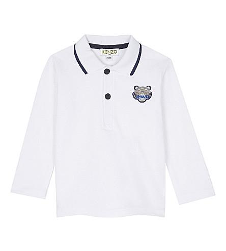 KENZO Tiger patch cotton polo shirt 3-18 months (White