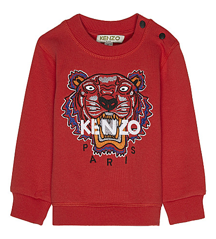 KENZO Tiger icon cotton sweatshirt 3-18 months (Red
