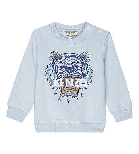 KENZO Embroidered patch tiger logo cotton sweater 3-36 months (Pale+blue