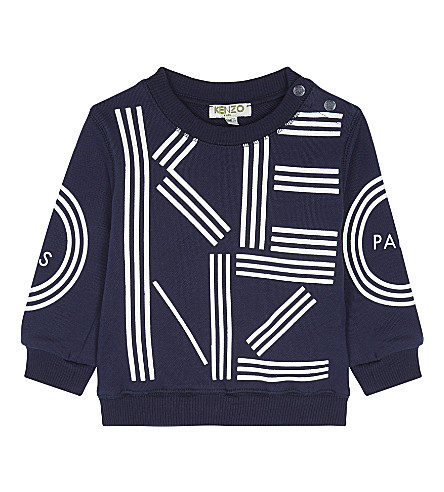 KENZO Logo cotton sweatshirt 3-18 months (Navy