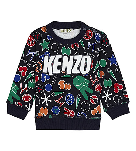 KENZO All-over symbol print sweatshirt 3-18 months (Navy