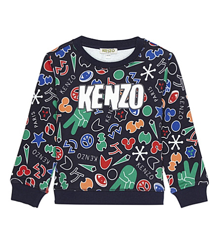 KENZO Peace sign print cotton sweater 2-3 years (Navy