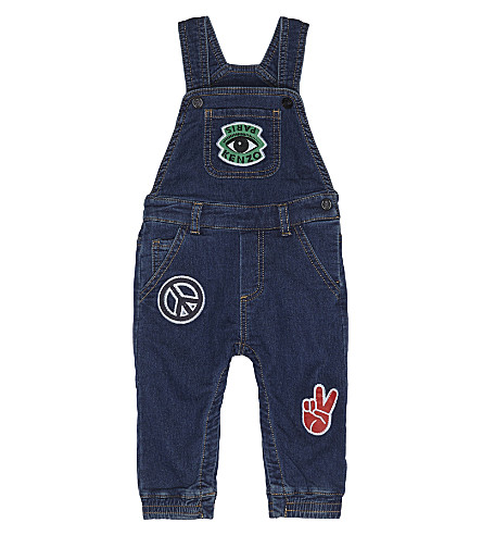 KENZO Denim embroidered patch dungarees 6-36 months (Denim