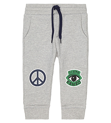 KENZO Peace sign print cotton jogging bottoms 3-36 months (Grey