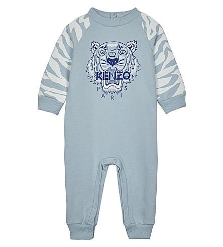 KENZO Tiger motif print baby-grow 3-18 months (Pale+blue