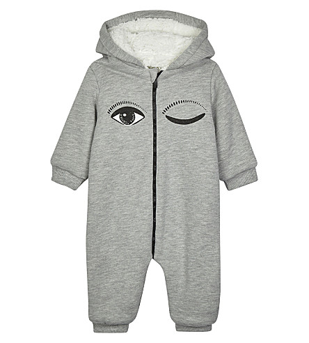 KENZO Wink print fleece-lined cotton-blend hooded baby-grow 3-18 months (Grey